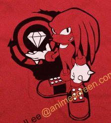 Sonic the Hedgehog Red Knuckles w/ Master Emerald shirt T-shirt tee Tshirt