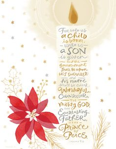 """Printable Bible Quote: """"For who us a child is born....the prince of peace."""" - Isaiah 9:6"""