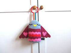 Baby Toy: Red Heart Hanging Plush Bird Rattle by MadeByEdenGrace