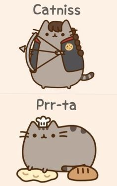 Prr-ta (Peeta) and Catiss (Katniss) YESSS!!! this is a thousand times better cause I love Pusheen!!!!! :D