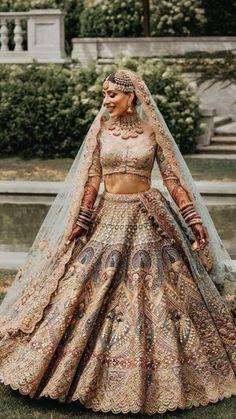 Indian Wedding Gowns, Indian Bridal Lehenga, Indian Bridal Outfits, Indian Bridal Fashion, Indian Bridal Wear, Gold Lehenga, Lehenga Choli, Sarees, Wedding Lehenga Designs