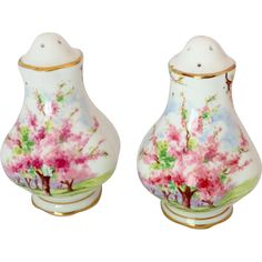 Here is a pair of unmistakable Royal Albert quality Bone China salt and pepper shakers in the pretty Blossom Time pattern. These Hampton shaped Vintage Cups, Vintage Dishes, Vintage Glassware, Vintage Dinnerware, Bone China Tea Cups, Salt And Pepper Set, Antique China, Royal Albert, Fine China