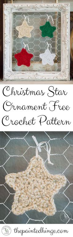 Easy to make star ornament free crochet pattern!