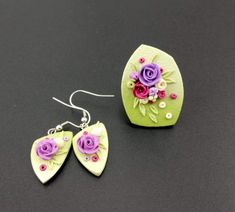 W Fine Porcelain China Diane Japan Polymer Clay Flowers, Polymer Clay Earrings, Resin Jewelry, Jewelry Crafts, Jewellery, Cold Porcelain Jewelry, Polymer Clay Projects, Clay Creations, Porcelain Ceramics