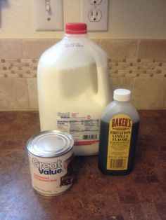 Homemade coffee creamer: 1 can 14 oz sweetened condensed milk 14 oz whole milk 1 tablespoon vanilla Pour sweetened condensed milk, whole milk and vanilla into a container and shake it like mad.