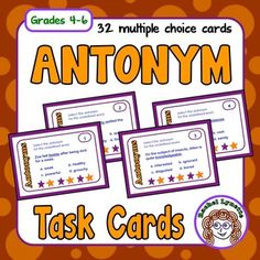 Antonym+Task+Cards:+32+FREE+cards+for+practicing+Antonyms+-+Grades+4-6Use+these+32+multiple+choice+task+cards+to+reinforce+antonyms.+A+student+answer+sheet+for+students+to+record+their+answers+is+included+along+with+an+answer+key+for+self-checking.+There+is+also+a+Challenge+Card+that+can+be+used+in+conjunction+with+any+other+card+to+extend+the+activity.