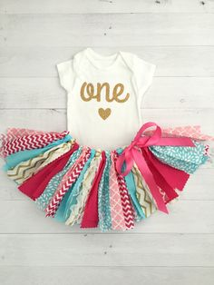 Pink Turquoise/Blue and Gold Birthday Outfit by MeadowsMarvels