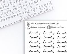 Laundry cursive script stickers: laundry, typography, cursive script, black and white, word stickers Cursive Script, Mini Hands, Beautiful Fonts, Weekly Planner, Planner Stickers, Hand Lettering, Etsy Seller, Laundry, Typography
