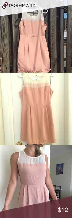 Classy forever 21 rose pink dress and cream top New without tags dress from Forever 21. Very classy design with high neckline and cream tightly woven mesh top. Single layer fabric so very lightweight and comfortable. Size small. Dresses Mini