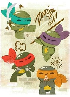 An art show featuring different takes on the Teenage Mutant Ninja Turtles. I love this one--it's so cute! Teenage Mutant Ninja Turtles, Ninja Turtles Art, Baby Turtles, Ninja Turtle Crafts, Sweet Turtles, Nightwing, Batwoman, Manga Comics, Geeks