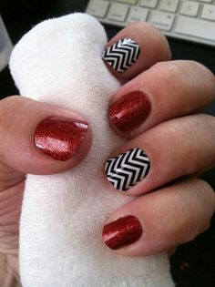 Jamberry Nail Wrap Idea: Black & White Chevron with Cherry Ice Sparkle >> Buy Three, Get One FREE at http://getstarted.jamberrynails.net/