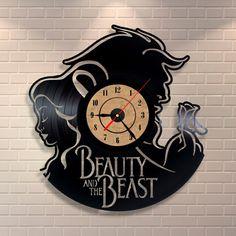 Beauty and the beast art vinyl wall record clock by Vinylastico
