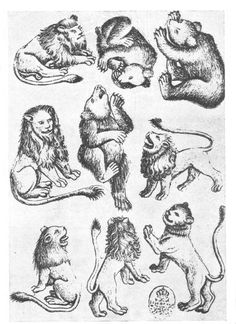 Master of the Playing Cards - 9 of Beasts (I love the lion on the left centre, particularly the man-like facial features)