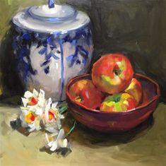 """Daily Paintworks - """"An inspired Still Life"""" by Laurie Johnson Lepkowska- I bought this painting from Laurie- I love it!"""