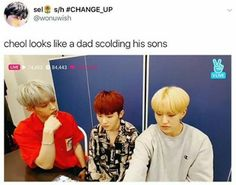 dad!cheol scolding son!hoshi and boyfriend!woozi about the birds and the bees