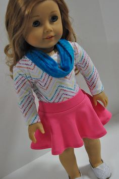 American Girl Doll Clothes Pink  Skater Skirt by CircleCSewing