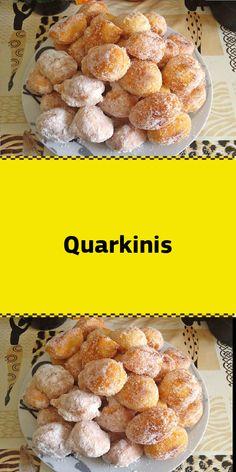 Quarkinis Zutaten : 250 g Sahnequark 4 Ei(er) 250 g Mehl Pck. Easy Cookie Recipes, Meat Recipes, Cake Recipes, Vegetarian Grilling, New Cake, Recipe For 4, Food Cakes, Cakes And More, Chocolate Recipes
