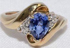 Pear Tanzanite & Diamond 10k Yellow Gold Ring by LadyLibertyGold