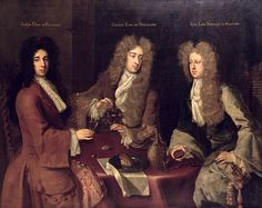 Three Very Big Wigs! Triple Portrait of the Earl of Burlington the Duke of Kingston-upon-Hull and the Baron Berkeley of Stratton painted by Michael Dahl I. Historical Art, Historical Clothing, 17th Century Fashion, 18th Century, Mitford Sisters, Charles Boyle, Family Tree Research, Kingston Upon Hull, Duke Of Devonshire