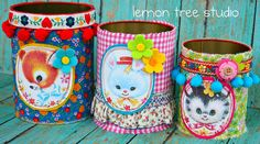 Trio of Upcycled Storage Tins, Vintage Baby Animals -- Pretty Organized Collection
