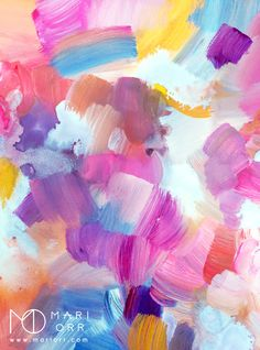Build Up original art by Mari Orr (@meandering_mari on Instagram)    This happy abstract painting has great movement and a rainbow of bright colors. The brushstrokes add delicious texture and the free-spirited boho chic vibe is perfect color inspiration for a truly feminine style!
