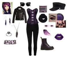 """""""For the Love of Amethyst <3"""" by ladykdragon ❤ liked on Polyvore featuring Dr. Martens, Glitzy Rocks, River Island, Kenzo, LunatiCK Cosmetic Labs, Hippie Rose, Acne Studios and prAna"""