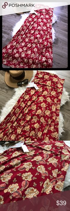 "Amazing floral print! Maxi Skirt Absolutely beautiful print Maxi skirt. Size XS and NWT. This is the soft slinky material. Red background color.  Press the ""bundle this item"" option and ill send you a special offer ! 🤗 Lularoe Maxi LuLaRoe Skirts Maxi"