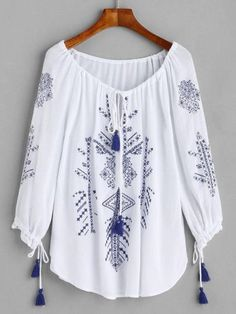 White Embroidered Lace Up Fringe Blouse Stylish Tops, Stylish Dresses, Casual Dresses, Casual Outfits, Kurta Designs, Blouse Designs, Hijab Fashion, Fashion Dresses, Mens Fashion