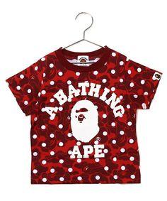 BAPE KIDS(ベイプキッズ)のABC DOT COLLEGE TEE(Tシャツ/カットソー) レッド