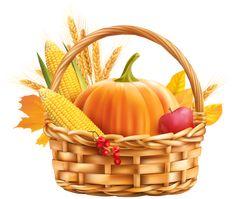 Autumn Harvest Basket PNG Clipart Image