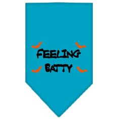 Feeling Batty Screen Print Bandana Turquoise Small