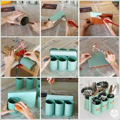 Porta cubiertos reciclando latas