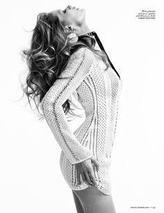 Doutzen Kroes in the style of 60's from Vogue Netherlands 2015, in white Louis Vuitton crochet dress