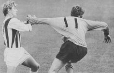 1st September 1969. West Brom youngster Asa Hartford already averse to the dark arts as he stop Wolves winger David Wagstaffe getting away.