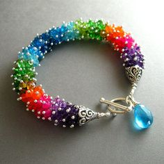 Colorful Neon Gemstone Wire Wrapped Sterling by SurfAndSand, $329.00