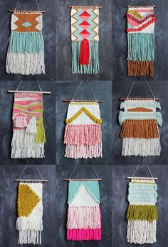 Lovely April Weavings by Rachel Denbow of Smile and Wave. So nice to see people weaving! Weaving Projects, Weaving Art, Wire Weaving, Tapestry Weaving, Hand Weaving, Craft Projects, Textiles, Tapetes Diy, Patch Bordado
