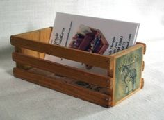 maybe something different on the side. would go with country chic feel & wine boxes Business Card Holders, Business Cards, Wine Boxes, Country Chic, Crates, Beautiful Things, Card Making, Diy, Wine Crates