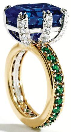 Sapphire, tsavorite garnet and diamond ring, Schlumberger for Tiffany & Co. Via Diamonds in the Library.  Wow!