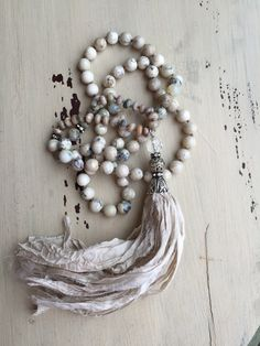 Shabby Chic Boho glam neutral versatile unique sari silk tassel hand knotted gemstone beads necklace by MarleeLovesRoxy