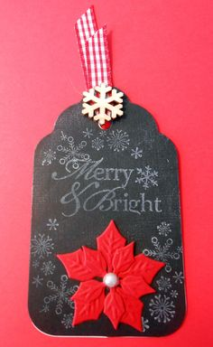 Christmas Tag - Scrapbook.com - I made this tag yesterday while at a Cancer Crop.  #Christmas #chalkboard #tags