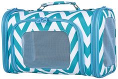 Ever Moda Teal Chevron Print Soft-Sided Pet Carriers ^^ See this awesome image  : Dog carrier