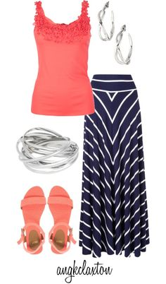have the makings of this: striped maxi, coral tank, silver accessories