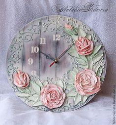 "Купить Часы интерьерные "" Нежная дымка"" - белый, часы, часы настенные, скульптурная композиция"
