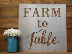 Farm To Table, Metal Sign, Metal Wall Art