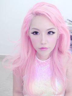 Pretty light pink hair.