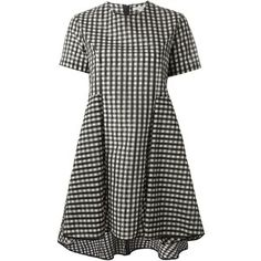 Hache gingham check asymmetrical dress