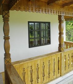 Porch Balusters, Wood Balusters, Balustrades, Barbecue Garden, Rooftop Restaurant, Balcony Railing, Wood Shutters, Villa Design, Cabins And Cottages