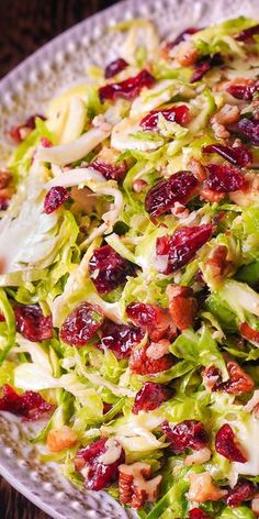 Brussels Sprouts, Pecan, Cranberry Salad with Honey Mustard Vinaigrette #Thanksgiving #salads
