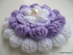 "PDF Crochet 3D Flower Pattern, Beautiful Crochet Flower Pattern ""Lilac Mosaic"", Cluster Stitch Pattern, Lyubava Crochet Pattern number 75, via Etsy."