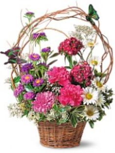 Touch of Butterflies Bouquet   TF11-1      You'll make hearts flutter like the little butterflies that adorn this beautiful basket of asters, carnations, daisies and other spring blossoms, accented by curly willow and arrive in a basket with colorful butterflies.        https://www.4165flower.com/index.asp?pid=4=viewproduct=9586=23